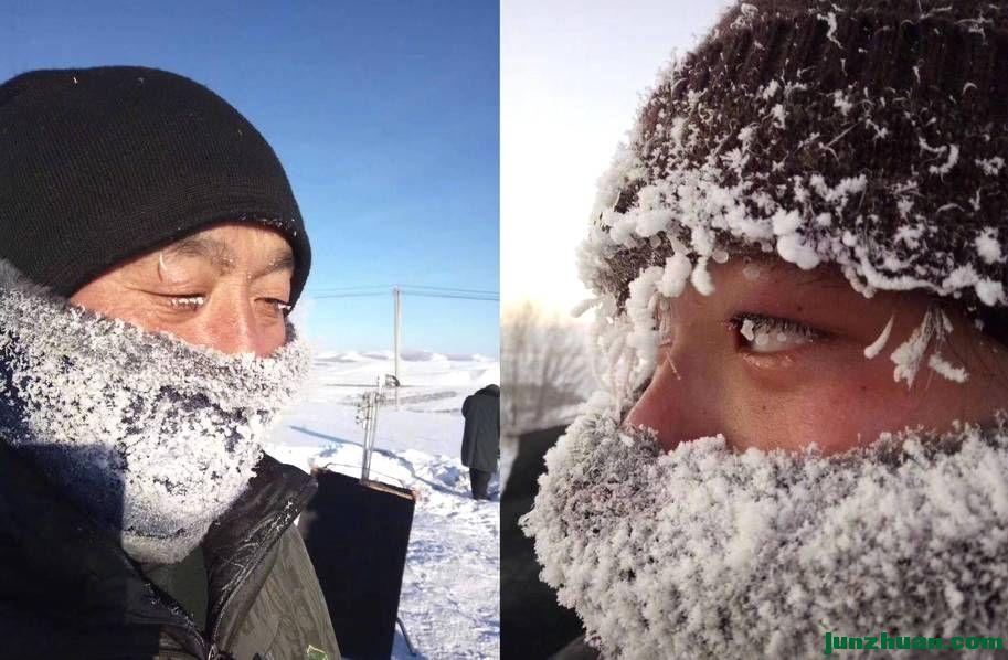 内蒙零下40度 民众被冰花包裹(转)